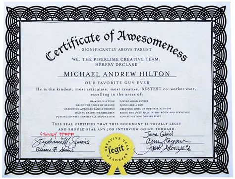 certificate of awesomeness template certificate of awesomeness template