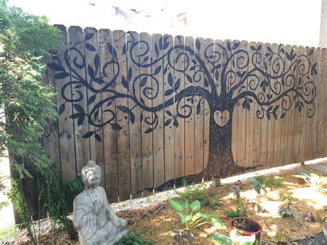 painting backyard fence tree of life painted fence landscaping pinterest
