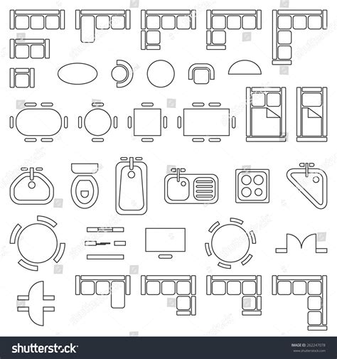 bathroom design templates standard furniture symbols used in architecture plans icons set graphic design elements