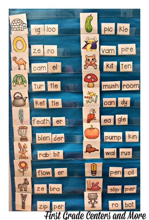 two syllable words pocket chart center