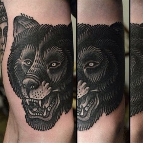 black bear face tattoo on knee tattooshunt com