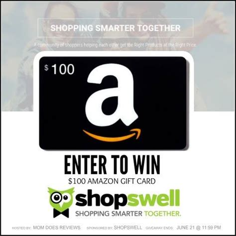 Amazon Gift Card Sweepstakes - win a 100 amazon gift card sponsored by shopswell