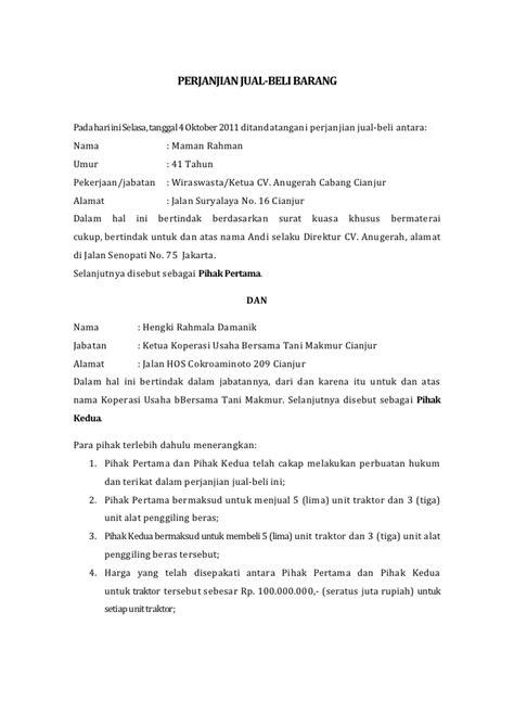 contoh surat perjanjian jual beli wisata dan info sumbar