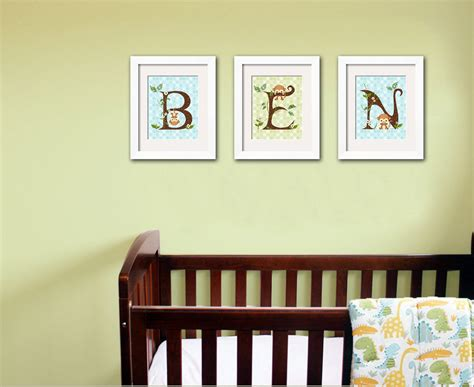 Jungle Monkey Wall Art Baby Nursery Prints Custom Letter Monkey Wall Decor For Nursery