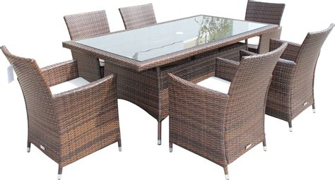 Patio Chairs And Tables Cambridge 6 Chairs And Rectangular Table Set In Chocolate And