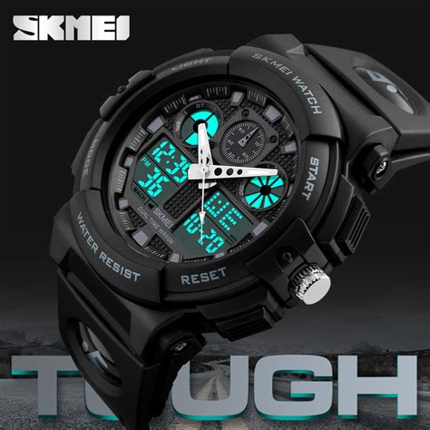 Jam Tangan Shark Digital Led Date Day Big White Quartz Army Wrist skmei luxury brand sports watches s quartz led digital hour clock wrist
