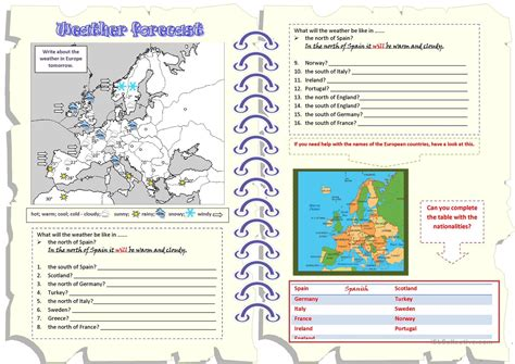 weather forecast will countries worksheet free esl