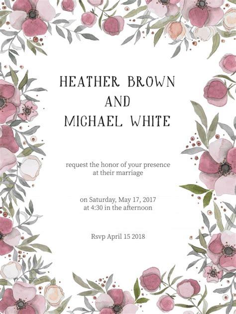 Convite de casamento romântico com flores cor de vinho   Baixar vetores grátis