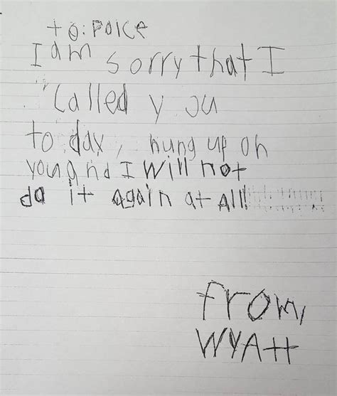 Sweet Apology Letter To Your Boy Mistakenly Calls 9 1 1 Writes Sweet Apology Letter To Story Kriv
