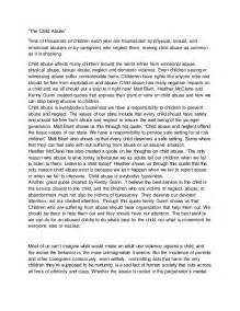 Abuse Essay the child abuse essay