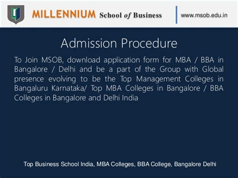 Pre Mba Courses In India by Millennium School Of Business Msob Top Business