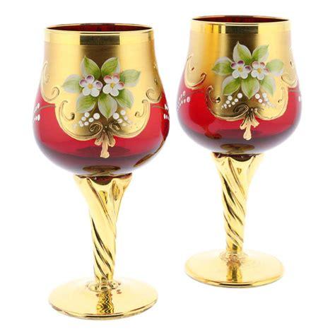 glass barware murano glass goblets set of two murano glass wine glasses 24k gold leaf red