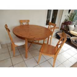 table ronde en pin avec rallonge 4 chaises achat et