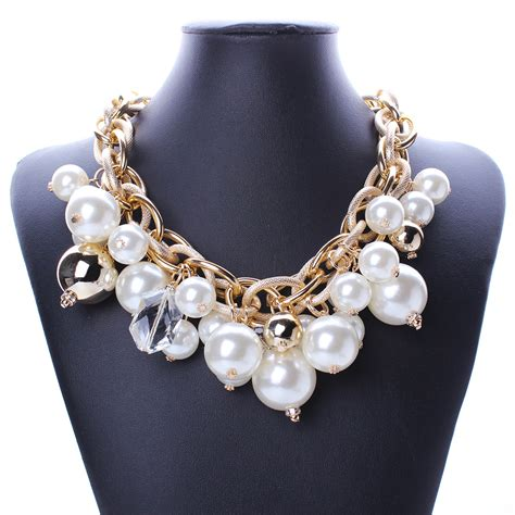 big for jewelry 2015 new shiny white pearl necklace big necklace