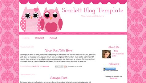templates blogger design pink owl blogger template scarlett 10 00