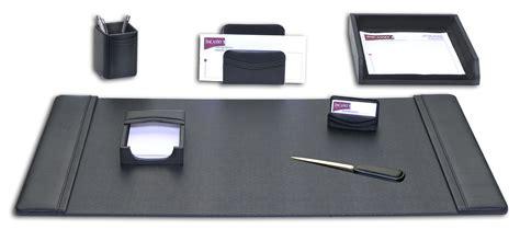 Black Desk Set by D1004 Black Leather 7 Desk Set