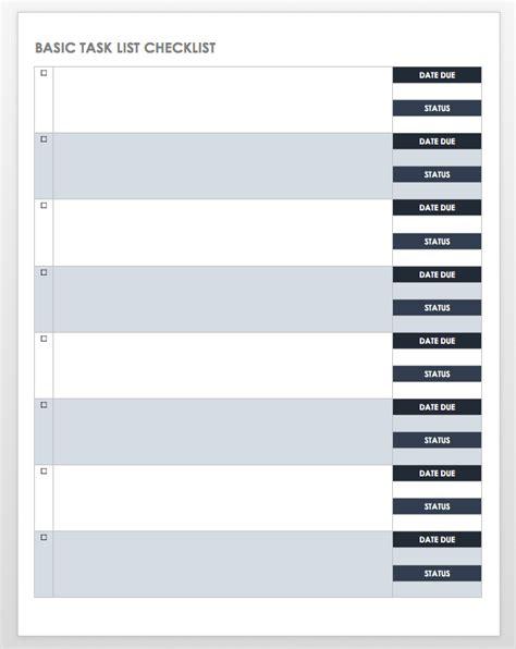 Free Task And Checklist Templates Smartsheet Task List Template