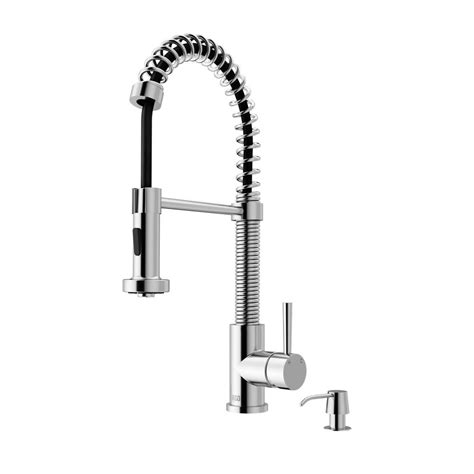vigo kitchen faucets vigo single handle pull out sprayer kitchen faucet with soap dispenser in chrome vg02001chk2