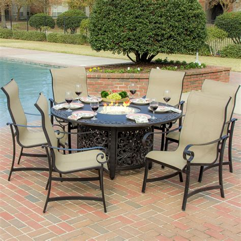 Outdoor Table Ls For Patio La Salle 7 Sling Patio Dining Set With Pit Table By Lakeview Outdoor Designs