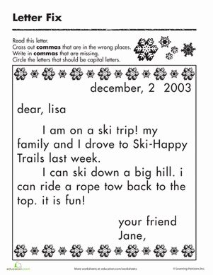 printable worksheets on capitalization and punctuation fix the letter commas and capitalization spelling