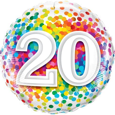 Gift idea for 20th birthday rainbow confetti 20th birthday balloon gift