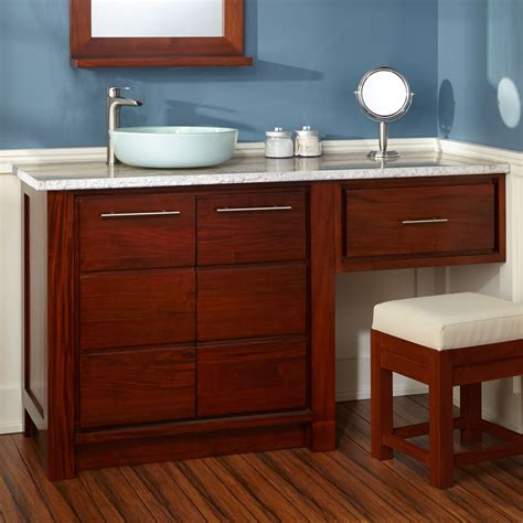 Bathroom Makeup Vanities 72 Quot Glympton Vessel Sink Vanity With Makeup Area Mahogany Bathroom