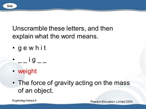 unscramble these letters 2 what is gravity and why is it so important ppt 1697