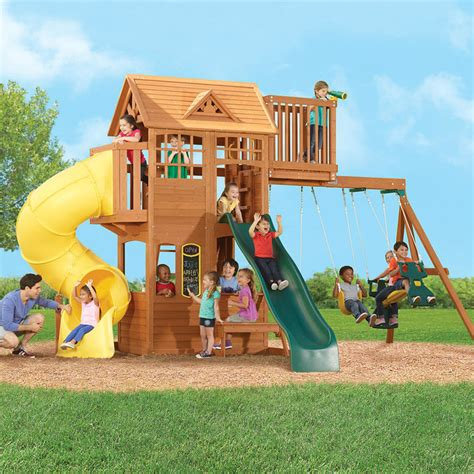 kids play swing set bayfield retreat wood gymset contemporary kids