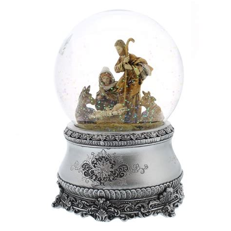 fontanini nativity snowglobe with silver base the