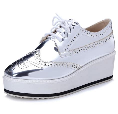 womens silver oxford shoes big size 47 new womens oxford lace up striped platform