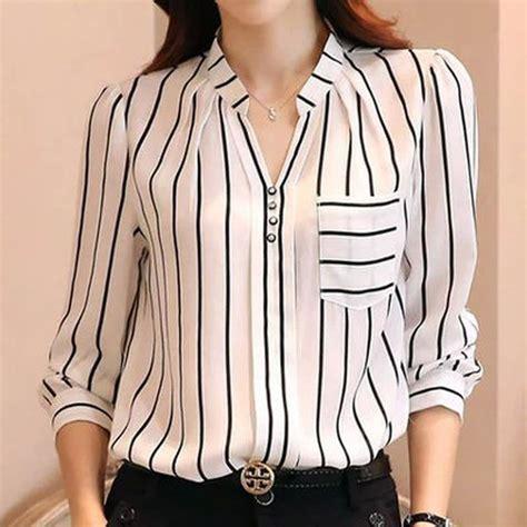 blusas cortas de chicas mujer la blusa coreana blusa a rayas camiseta de manga