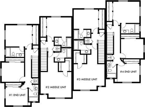 townhouse plans upper floor plan 2 for townhouse plans 4 plex house plans