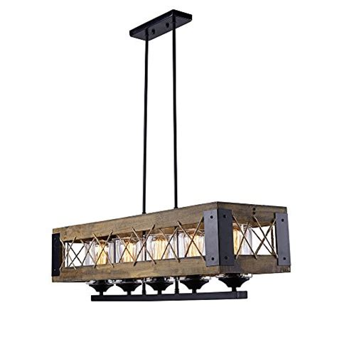 laluz wood kitchen island lighting 5 light pendant