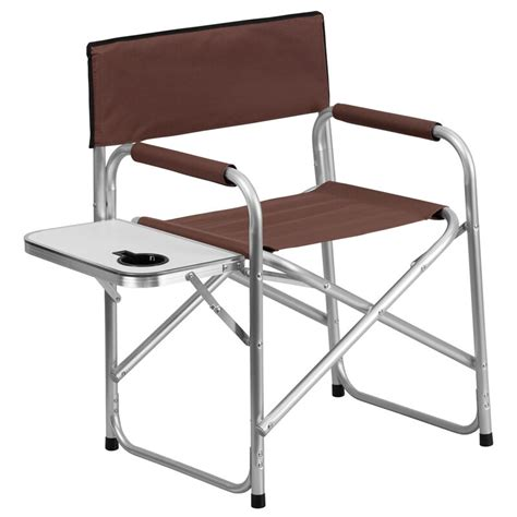 aluminum folding camping chair  table  drink holder  brown ebay