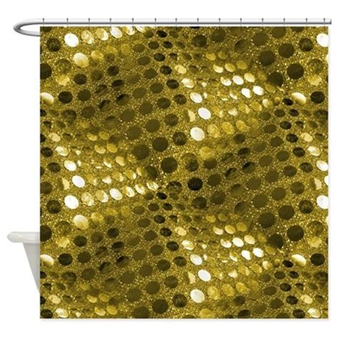 Gold Sequin Shower Curtain by Gold Sequin Effect Shower Curtain By Buygifts1