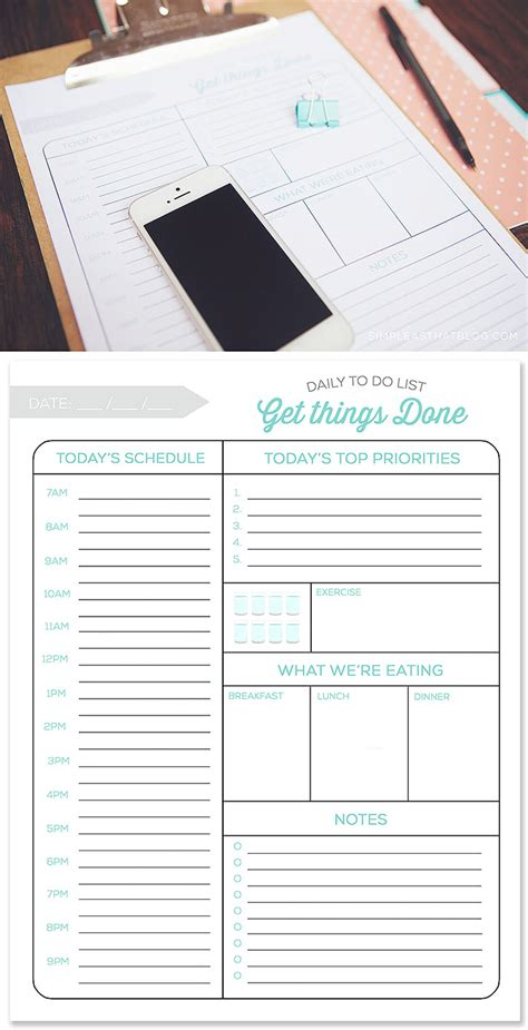 daily planner template word printable organizer vision simple