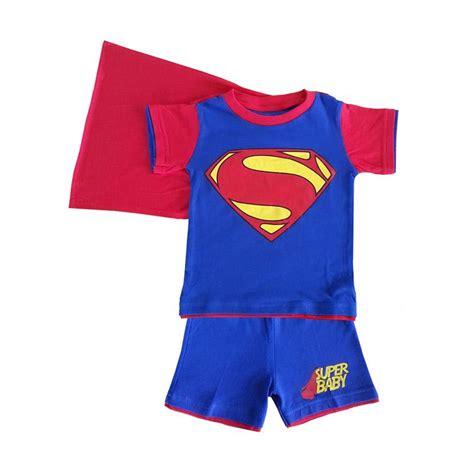 jual baju superman jual dessan superman bersayap setelan baju anak biru