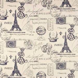 Upholstery Fabric French Script Drapery Fabric Upholstery Fabric Paris Fabric Navy Eiffel