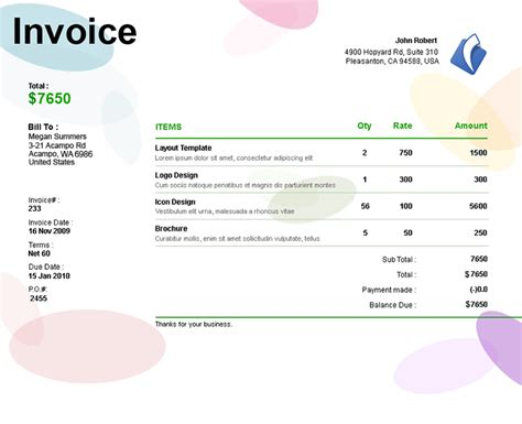 freelance writing invoice template