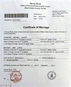 Miami Dade Marriage License Records Christian Slater Marries Term