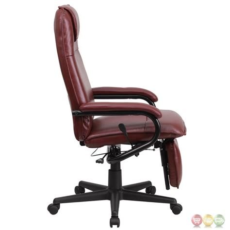 Reclining Back Chair High Back Burgundy Leather Executive Reclining Office