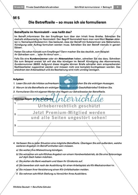 Beschwerdebrief Unterrichtsmaterial Berufliche Schule Arbeitsbl 228 Tter Auf Meinunterricht De