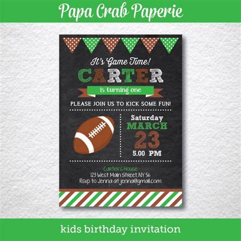 printable rugby birthday invitations instant download editable american football birthday