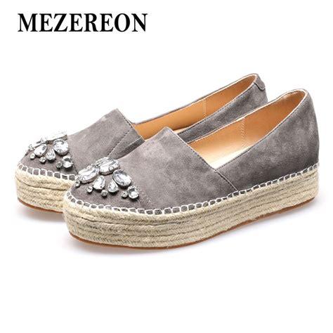 Genuine Leather Platform Shoes aliexpress buy mezereon espadrilles