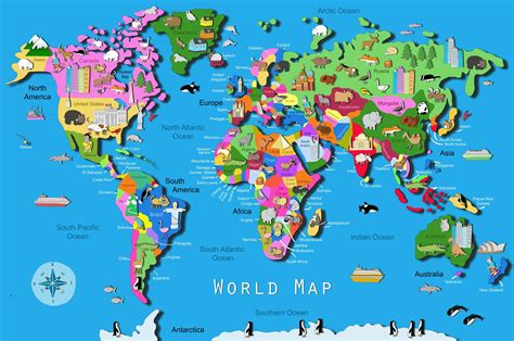 map of the united states kid friendly kid s world map maps com