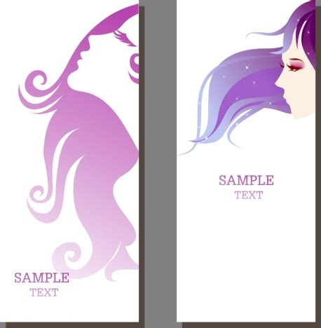 design banner spa beauty salon banner sets beautyful girl ornament vectors