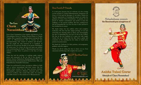 Bharatanatyam Arangetram Tri Fold Brochure Outside By ōviya Design Studio Arangetrams By ōviya Arangetram Brochure Templates