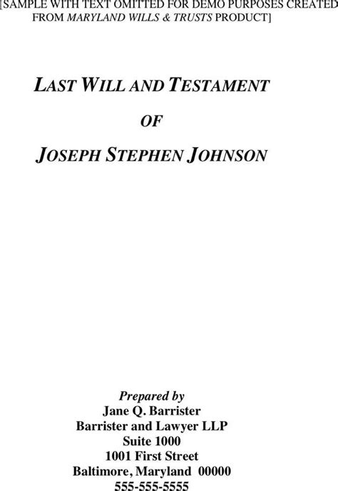 maryland will template maryland last will and testament sle for free