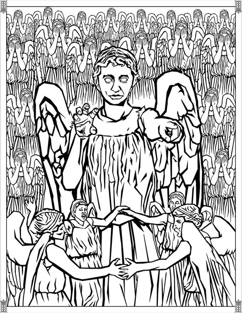 doctor  pages weeping angels tv shows adult coloring