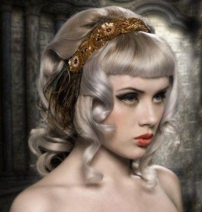 silver streaks in blonde hair blunt fringe bangs mosh